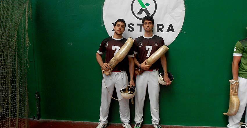Ubilla y Urrutxua, antes de comenzar la semifinal de Andoain